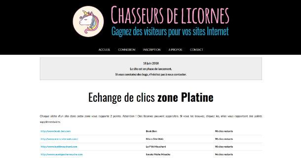 Chasseurs de licornes échange de clics